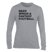 Beer Wings & Fantasy Football - Light Ladies Long Sleeve Ultra Performance 100% Performance T Shirt