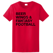 Beer Wings & Fantasy Football - Ladies Ultra Cotton™ 100% Cotton T Shirt