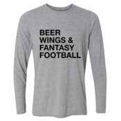 Beer Wings & Fantasy Football - Light Youth Long Sleeve Ultra Performance Active Lifestyle T Shirt