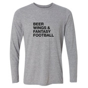Beer Wings & Fantasy Football - Light Long Sleeve Ultra Performance Active Lifestyle T Shirt