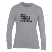 Beer Wings & Fantasy Football - Light Ladies Long Sleeve Ultra Performance Active Lifestyle T Shirt