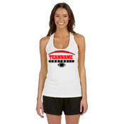 Football Laces Outline - Alo Sport Ladies' Performance Racerback Tank
