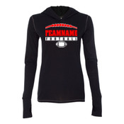 Football Laces Outline - Ladies' Triblend Long Sleeve Hooded Pullover