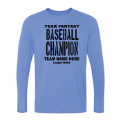 Custom Fantasy Baseball Championship T-shirt with League Name - Light Ladies Long Sleeve Ultra Performance 100% Performance T Shirt