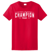 Custom Fantasy Baseball Champion Words - White - Ladies Ultra Cotton™ 100% Cotton T Shirt