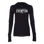 Custom Fantasy Baseball Champion Words - White - Ladies' Triblend Long Sleeve Hooded Pullover