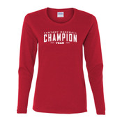 Custom Fantasy Baseball Champion Words - White - Gildan Ladies Ultra Cotton™ Long Sleeve Missy Fit T Shirt