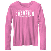 Custom Fantasy Baseball Champion Words - White - Bella Ladies'  4.2 oz. Missy Long-Sleeve Crew Neck Jersey T-Shirt
