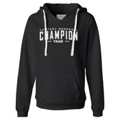 Custom Fantasy Baseball Champion Words - White - Ladies' Sueded V-Neck Hooded Sweatshirt
