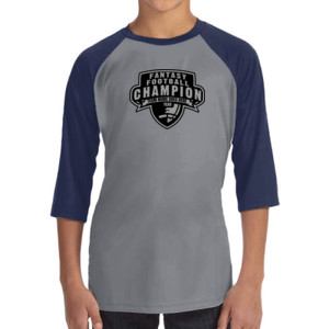 Custom Fantasy Football Champion Half Football - ALO 100% Performance Youth Baseball T-Shirt