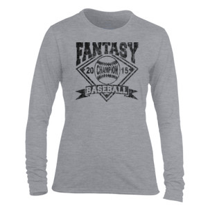2015 Fantasy Baseball Champion Diamond Baseball - Light Ladies Long Sleeve Ultra Performance Active Lifestyle T Shirt