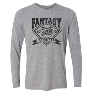 2015 Fantasy Baseball Champion Diamond Baseball - Light Youth Long Sleeve Ultra Performance Active Lifestyle T Shirt