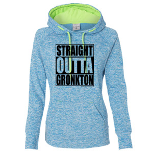 Straight Outta Gronkton - Ladies' Cosmic Poly Contrast Hooded Pullover Sweatshirt