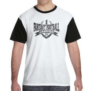 2016 Fantasy Football Champion V Outline - White Shirt with Black Sleeves/Back T-Shirt