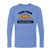 Custom Basketball Outline - Light Youth Long Sleeve Ultra Performance 100% Performance T Shirt
