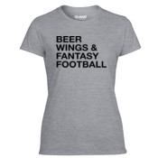 Beer Wings & Fantasy Football - Light Ladies Ultra Performance 100% Performance T Shirt