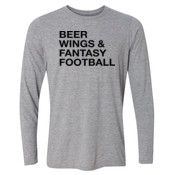 Beer Wings & Fantasy Football - Light Long Sleeve Ultra Performance 100% Performance T Shirt