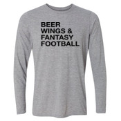 Beer Wings & Fantasy Football - Light Youth Long Sleeve Ultra Performance 100% Performance T Shirt