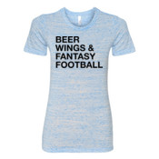 Beer Wings & Fantasy Football - (S) Ladies' Cotton/Polyester T-Shirt