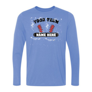 Distressed Custom Baseball Laces Full Custom - Light Youth Long Sleeve Ultra Performance 100% Performance T Shirt