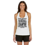 Custom Fantasy Baseball Championship T-shirt with League Name - Alo Sport Ladies' Performance Racerback Tank