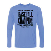 Custom Fantasy Baseball Championship T-shirt with League Name - Light Youth Long Sleeve Ultra Performance 100% Performance T Shirt