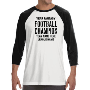 Fantasy Football Champion with League  - ALO 100% Performance Unisex Baseball T-Shirt