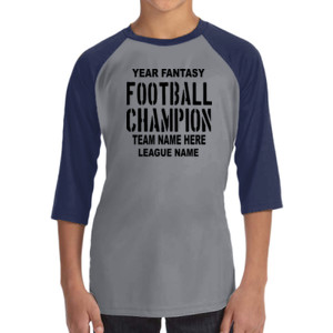 Fantasy Football Champion with League  - ALO 100% Performance Youth Baseball T-Shirt