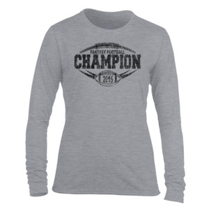 2015 Fantasy Football Champion Outline - Light Ladies Long Sleeve Ultra Performance Active Lifestyle T Shirt
