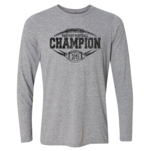 2015 Fantasy Football Champion Outline - Light Long Sleeve Ultra Performance Active Lifestyle T Shirt