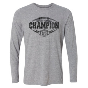 2015 Fantasy Football Champion Outline - Light Youth Long Sleeve Ultra Performance Active Lifestyle T Shirt
