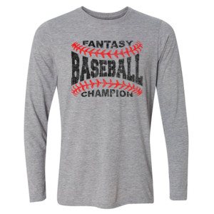 Fantasy Baseball Champion Laces  - Light Youth Long Sleeve Ultra Performance Active Lifestyle T Shirt