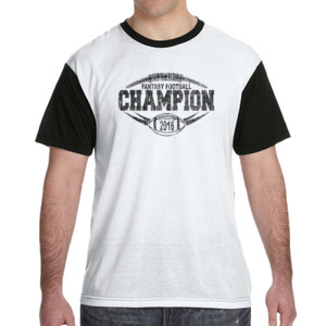 2016 Fantasy Football Champion Outline - White Shirt with Black Sleeves/Back T-Shirt