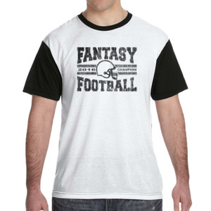 2016 Fantasy Football Champion H Helmet - White Shirt with Black Sleeves/Back T-Shirt