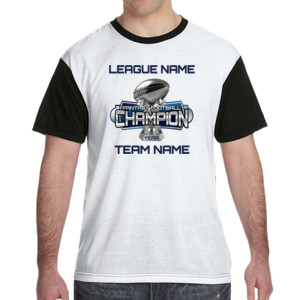 Fantasy Football Champion Large Trophy - Light Youth/Adult Ultra Performance Active Lifestyle T Shir - White Shirt with Black Sleeves/Back T-Shirt
