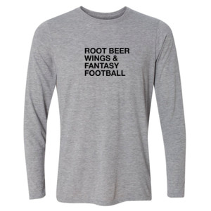 Root Beer Wings & Fantasy Football - JAmerica Polyester Fleece Hoodie - Light Long Sleeve Ultra Performance Active Lifestyle T Shirt