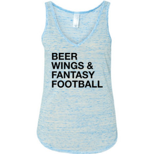 Beer Wings & Fantasy Football - Ladies' Flowy V-Neck Tank
