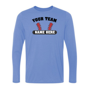 Custom Baseball Laces Full Custom - Light Youth Long Sleeve Ultra Performance 100% Performance T Shirt