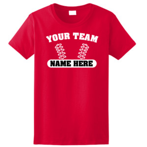 Custom Baseball Laces Full Custom - Ladies Ultra Cotton™ 100% Cotton T Shirt