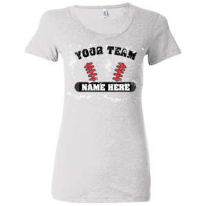 Distressed Custom Baseball Laces Full Custom - (S) Ladies' Triblend Short Sleeve T-Shirt