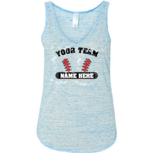 Distressed Custom Baseball Laces Full Custom - Ladies' Flowy V-Neck Tank