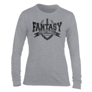 Fantasy Football Champion V Outline - Light Ladies Long Sleeve Ultra Performance Active Lifestyle T Shirt