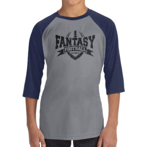 Fantasy Football Champion V Outline - ALO 100% Performance Youth Baseball T-Shirt