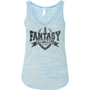 Fantasy Football Champion V Outline - Ladies' Flowy V-Neck Tank
