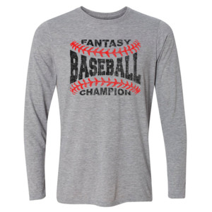 Fantasy Baseball Champion Laces  - Light Long Sleeve Ultra Performance Active Lifestyle T Shirt
