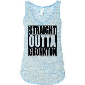 Straight Outta Gronkton - Ladies' Flowy V-Neck Tank