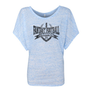 2016 Fantasy Football Champion V Outline - Women's Flowy Draped Sleeve Dolman Tee (S)
