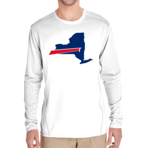 Buffalo is New York's Football Team - (S) Adult Tech Long-Sleeve Light Color T-Shirt