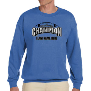 Fantasy Football Champion Arch Football - Adult Heavy Blend Heather Royal or Red 60/40 Fleece Crew (S)