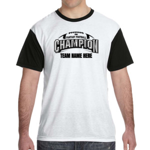 Fantasy Football Champion Arch Football - White Shirt with Black Sleeves/Back T-Shirt